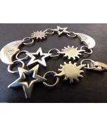 VTG Celestial Moon Star Sun Link Charming Sterling Silver 925 Bracelet 7... - $94.05