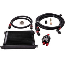 15 ROW AN 10 AN Thermostat Adaptor Engine Racing Oil Cooler Kit For CAR ... - $122.09