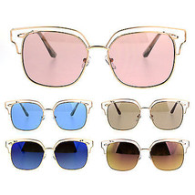 Womens Oceanic Color Lens Wire Half Metal Rim Retro Fashion Sunglasses - $12.95
