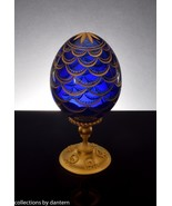 Faberge Pine Cone Cobalt Blue Crystal Egg on Stand - $799.00