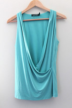 NEW! LAUREN Ralph Lauren Gorgeous Aqua Blue Green Deep Drape Wrap Blouse... - $47.40