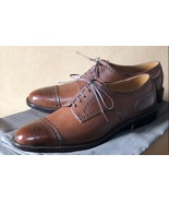 Customized Tan Brown Color Leather Shoes, Men's Cap Toe Brogue Lace Up S... - $149.99+