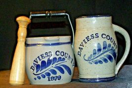 Daviess County Westerwald Stoneware Pitcher & Bowl with handles/ Wood Pestle AA- image 3