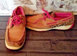 Sperry Top Sider Boat Shoes Youth Size 5.5 Intrepid Leather Casual Tan pink - $25.48