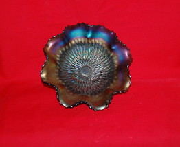 "Northwood Carnival Glass Sunflower Amethyst Meander Back Spatula Foot 9""... - $85.00"