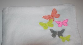 Carters BABY BLANKET Butterflies Neon Orange Pink Gray Green Soft Securi... - $19.22