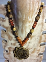 Vintage Tribal Necklace with Beads and Pendant. - $6.95