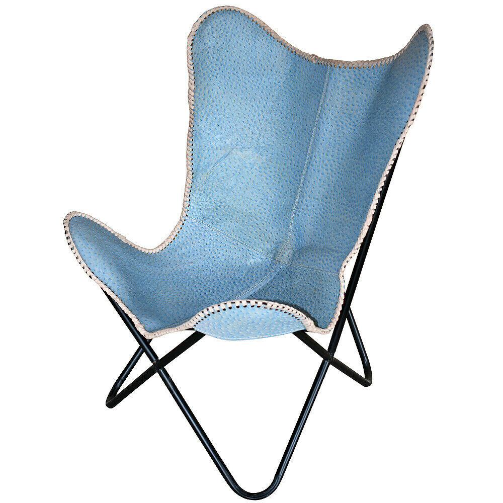 Make A Folding Chair An Accent Chair: U-B188 GENUINE LEATHER BUTTERFLY CHAIR FOLDING LOUNGE