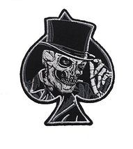 Top Hat Skull Iron on Patch Biker Motorcycle Embroidered Iron On Patches... - $5.91