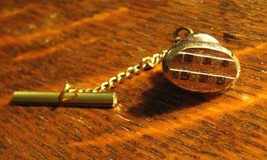 Mid Century Gold Oval Tie Tack - Vintage Gold Geometric Atomic Design Ti... - $19.79