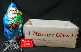 "DEPARTMENT 56 Oversize 9"" Mercury Glass Starry Santa Ornament Hand Painted  - $14.85"