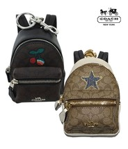 NWT COACH Backpack Coin Case Signature Cherry Star Bag Charm Key Ring Br... - $95.04+