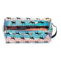 Victoria's Secret PINK Iridescent Hologram Makeup Case PINK DOG Logo NIP - $31.67