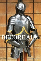 Medieval Breastplate Black Knight Half Suit Armor Wearable Costume Hallo... - $540.77