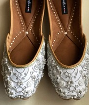 White embellished wedding shoes, Beaded Bridal footwear, Ethnic Indian s... - $58.99