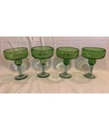 Set of 4 Green Bowl Clear Stem Glassware Margarita Glasses Handblown Bubble - $32.66