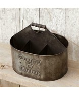 New Country Utensil Storage with handle in Distressed tin - $28.00