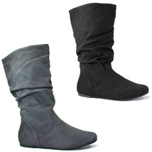 Soda Zurich-S New Womens Mid-Calf Slouchy Flat Boots Scrunch Faux-Suede - $18.00