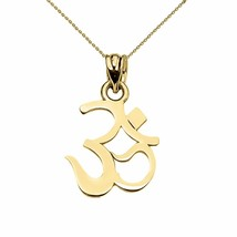 14k Solid Yellow Gold OHM (OM) Ganesh Pendant Necklace  - $128.60+
