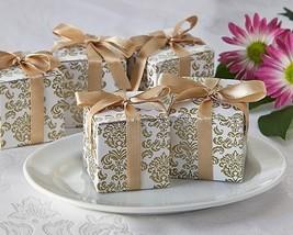96 Gold Damask Mint Candy Anniversary Bridal Wedding Favor Boxes w/Satin Ribbon - $52.20