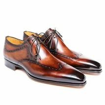 Two Tone Brown Burnished Oxford Derby Premium Quality Leather Handmade S... - $129.55+