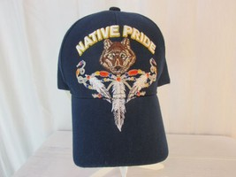 Golden Lion Native Pride Wolf Feathers Embroidered Blue Ball Cap Hat Adj... - $9.99