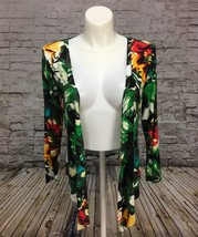 Liz Lange Floral Jungle Pattern Thin Stretchy Longsleeve Open Front Top ... - $13.09