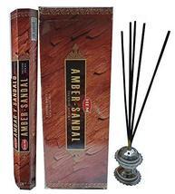 Hem Amber-Sandal Natural Incense Sticks Indian Handroll Fragrance Agarba... - $13.99