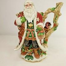 Fitz & Floyd Christmas Lodge Santa Pitcher Owl Woodland Creatures - $138.55