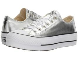 Women's Converse Metallic Platform Chuck Taylor, 560248C Multi Sizes Silver/Blk/ - $89.95