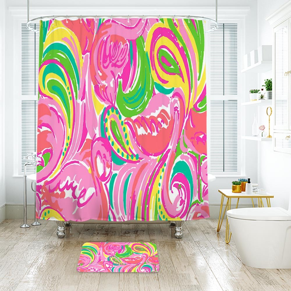 Primary image for Flower Lilly All Nighter Shower Curtain Waterproof & Bath Mat For Bathroom