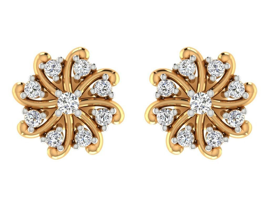 14kt Real yellow gold Natural IGI Certified Diamond Floral Stud earrings Jewelry