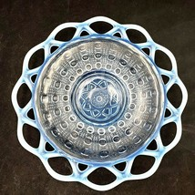 Imperial Sugar Cane Blue Opalescent Lace Edge Salad Plate Depression 1935 - $19.95