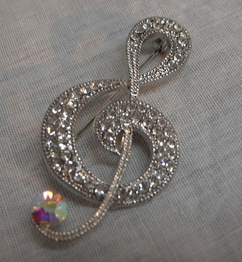 Primary image for j140 Treble Clef Music Note Brooch Pin Musician Clear Rhinestone Borealis Stones