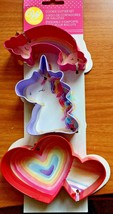 Wilton NEW 3 Piece Cookie Cutter Set Unicorn Rainbow Heart Party Birthday Gift - $9.85