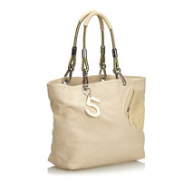 Pre-Loved Chanel Brown Beige Canvas Fabric No.5 Tote Bag Italy - $736.51