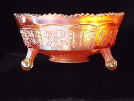 Antique Fenton Butterfly & Berry Master Berry Bowl Iridescent Marigold Carnival  - $67.00