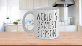 Worlds Okayest Stepson Mug Funny Most Okay Bonus Son Birthday Valentines... - $14.65+