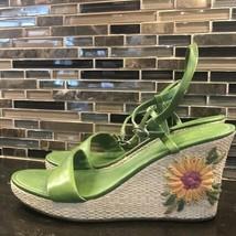 Ann Taylor green sandals straw flower wedges - $27.72