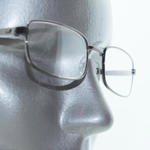 Small Narrow Lens Reading Glasses Shiny Gray Metal Frame +2.50 Power - $18.00
