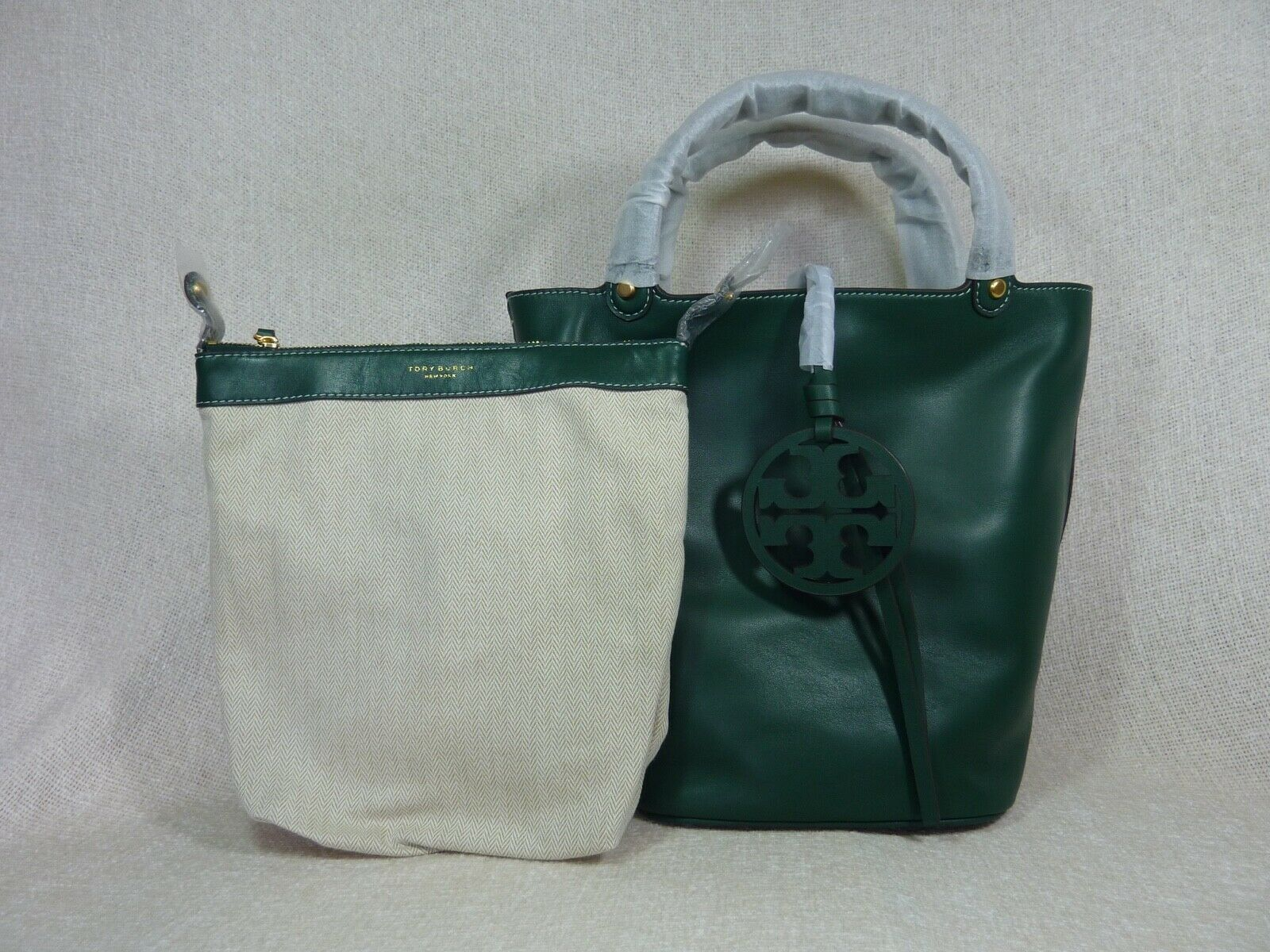 NWT Tory Burch Malachite Green Miller Bucket Tote image 2