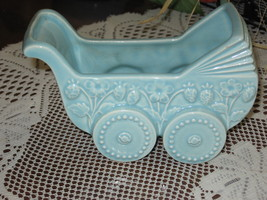 Baby Buggy-Planter-Art Pottery-Blue-1960's - $9.00