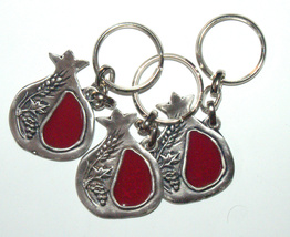 Judaica Keyring Keychain Key Holder Pomegranate Seven Species Red Enamel Israel image 2