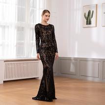 Elegant Long Sleeve Stretch Black Sequined Evening Party Dress Floor Length Blac image 2