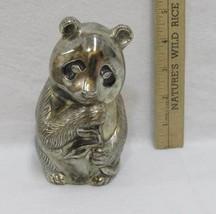 Panda Piggy Bank Newport Coin Sitting Eating Bamboo Shoot Silver Plated ... - $12.22