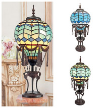 Unique Hot Air Balloon Illuminated Table Lamp Stained Glass Statue Frenc... - $267.53