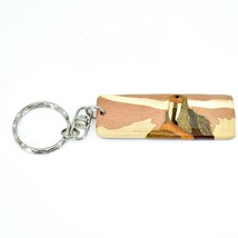 Northwoods Wooden Parquetry Rustic Walrus Design Tile Keychain