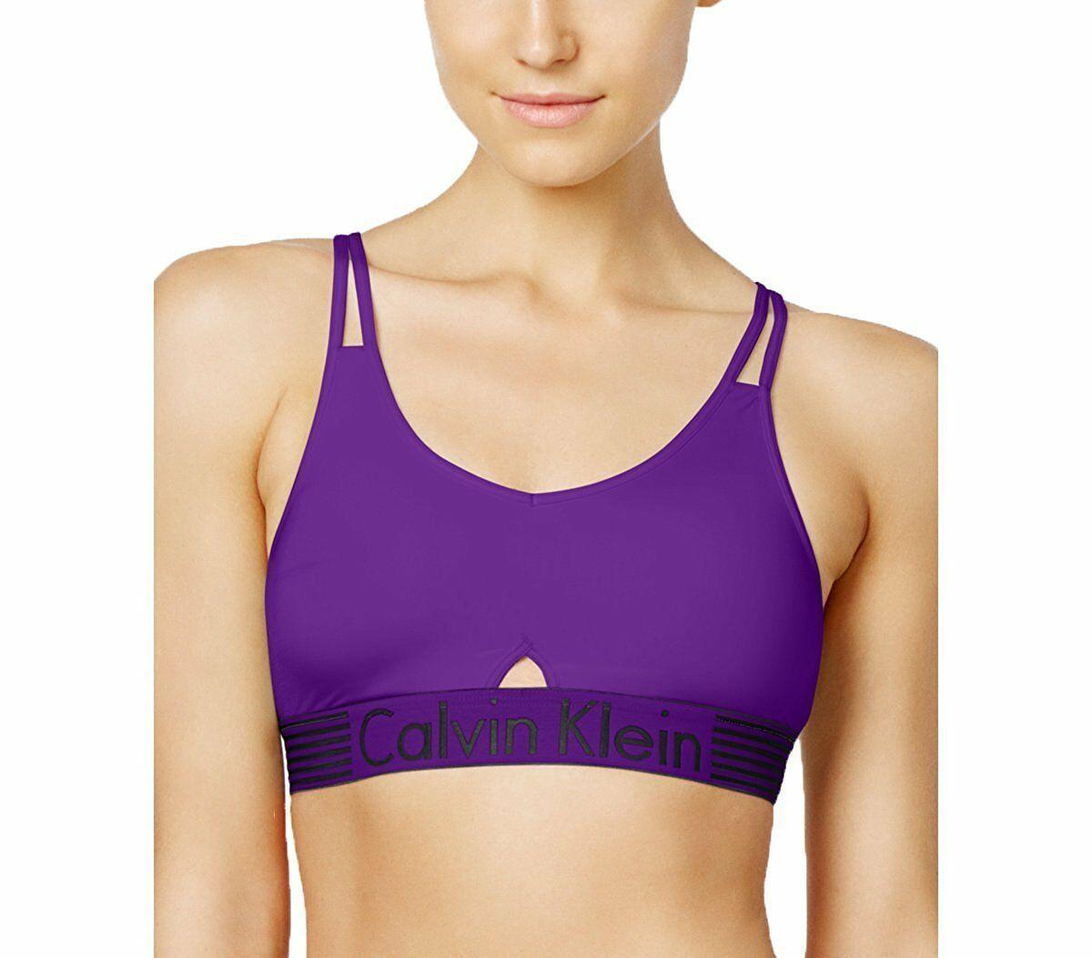 Calvin Klein Iron Strength Low Impact Logo Sports Bralette Purple QF1537-501 NWT
