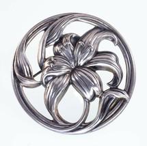 Danecraft Sterling Silver Flower Circle Pin Brooch Nice! - $49.49