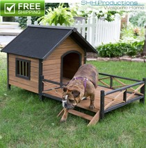 """Outdoor Puppy Cat Pet Dog Wood House Kennel Shelter w Deck Patio 35"""" x 3... - $248.16"""